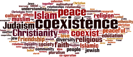 coexist: Coexistence word cloud concept. Vector illustration
