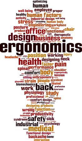 Ergonomie word cloud concept. vector illustratie Vector Illustratie