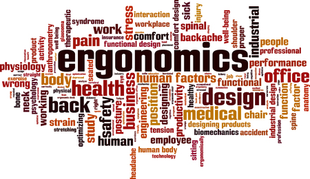 ergonomics: Ergonomics word cloud concept. Vector illustration