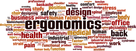 biomechanics: Ergonomics word cloud concept. Vector illustration