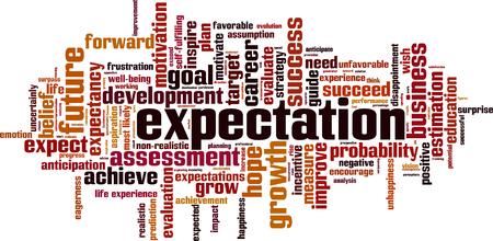 Las expectativas palabra nube concepto. ilustración vectorial