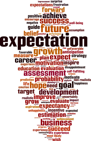 unfavorable: Expectations word cloud concept. Vector illustration