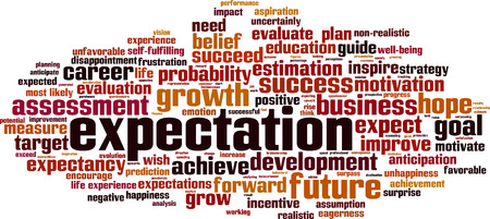 fulfilling: Expectations word cloud concept. Vector illustration