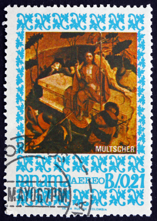 arisen: PANAMA - CIRCA 1967: a stamp printed in Panama shows The Arisen Christ, Painting by Hans Multscher, German Sculptor and Painter, circa 1967 Editorial