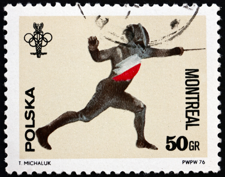 olympic rings: POLAND - CIRCA 1976: a stamp printed in Poland shows Fencing and Olympic Rings, 21st Olympic Games, Montreal, Canada, circa 1976