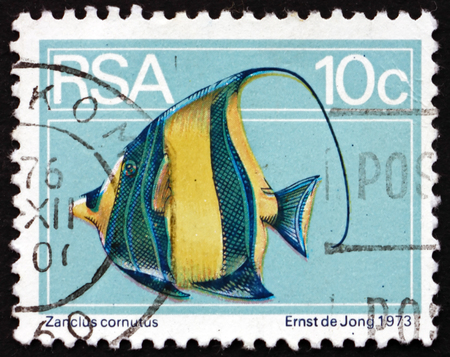 zanclus cornutus: SOUTH AFRICA - CIRCA 1974: a stamp printed in South Africa shows Moorish Idol, Zanclus Cornutus, Marine Fish, circa 1974 Editorial