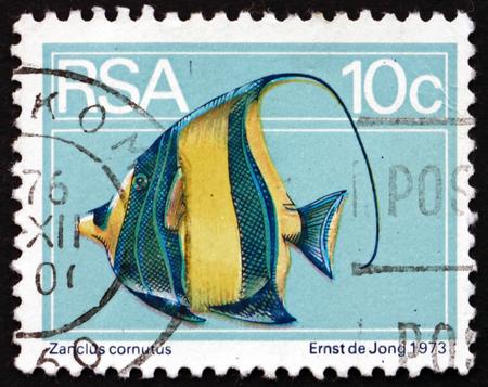 SOUTH AFRICA - CIRCA 1974: a stamp printed in South Africa shows Moorish Idol, Zanclus Cornutus, Marine Fish, circa 1974 Editorial