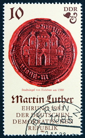 hometown: GERMANY - CIRCA 1982: a stamp printed in Germany shows Seal of Eisleben, the Hometown of Martin Luther, circa 1982