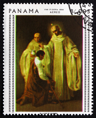 printmaker: PANAMA - CIRCA 1967: a stamp printed in Panama shows St. Bernard and St. Robert, Painting by Francisco Goya, Spanish Painter, circa 1967 Editorial
