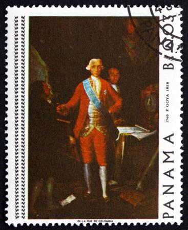 printmaker: PANAMA - CIRCA 1967: a stamp printed in Panama shows Count Floridablanca, Painting by Francisco Goya, Spanish Painter, circa 1967