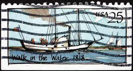 steamboat: USA - CIRCA 1989: a stamp printed in the USA shows Walk in the Water, Steamboat, 1818, circa 1989 Editorial