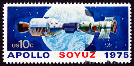 soyuz: USA - CIRCA 1975: a stamp printed in the USA shows Apollo and Soyuz after Docking, Earth, Russo-American Cooperation, circa 1975 Editorial
