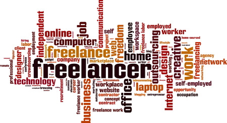 self employed: Freelancer word cloud concept.