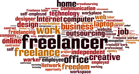 freelancing: Freelancer word cloud concept.