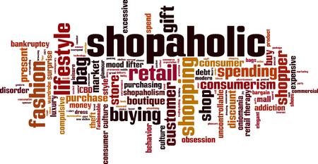 compras compulsivas: shopaholic palabra nube concepto. Vectores
