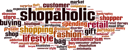 retail therapy: Shopaholic word cloud concept.