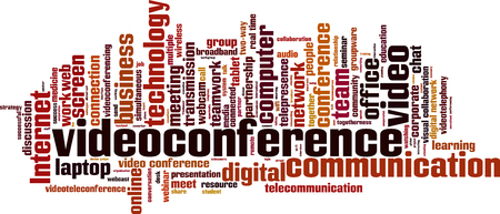video conference: Video conference word cloud concept.