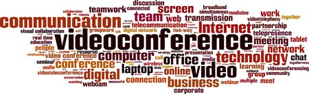 videoconferencing: Video-conference word cloud concept. Illustration