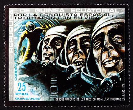 equatorial guinea: EQUATORIAL GUINEA - CIRCA 1972: a stamp printed in Equatorial Guinea dedicated to Dead Cosmonauts, Soyuz 11, circa 1972 Editorial