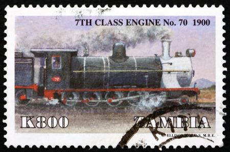 zambia: ZAMBIA - CIRCA 1999: a stamp printed in Zambia shows Locomotive, 7th Class No. 70, circa 1999