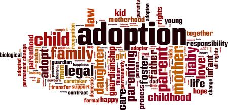mot, nuage, concept d'adoption.