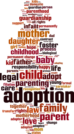 permanently: Adoption word cloud concept.