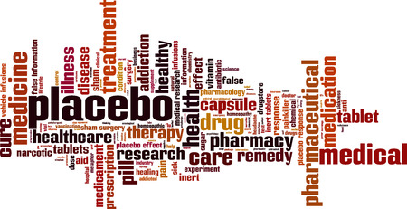 placebo: Placebo word cloud concept. Illustration