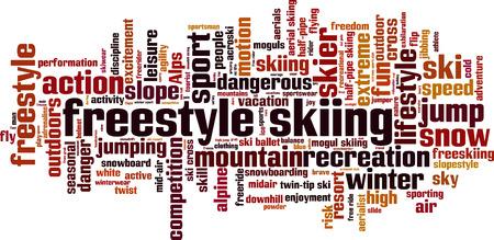フリー スタイル スキー単語雲の概念。