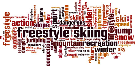 Freestyle skiing word cloud concept.