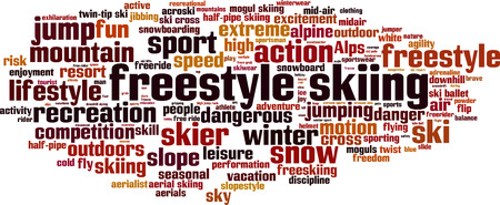 aerials: Freestyle skiing word cloud concept.