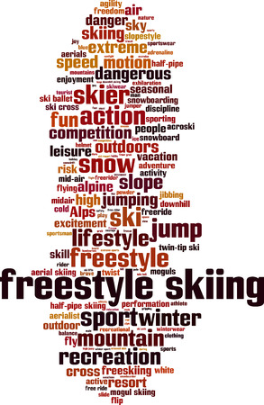 moguls: Freestyle skiing word cloud concept.