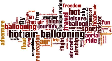 descend: Hot air ballooning word cloud concept.