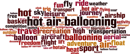 buoyancy: Hot air ballooning word cloud concept.