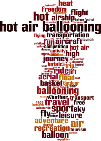 Hot air ballooning word cloud concept.