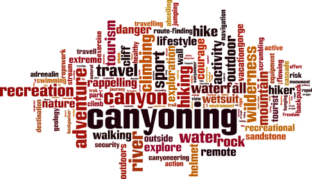 rappelling: Canyoning word cloud concept. Vector illustration Illustration
