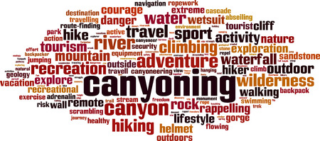 Canyoning word cloud concept. Vector illustration Illustration