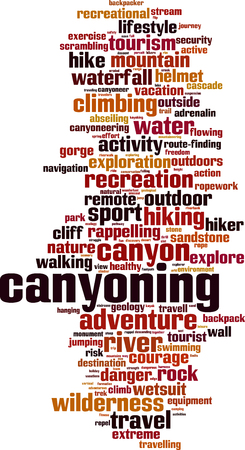 rappel: Canyoning word cloud concept. Vector illustration Illustration