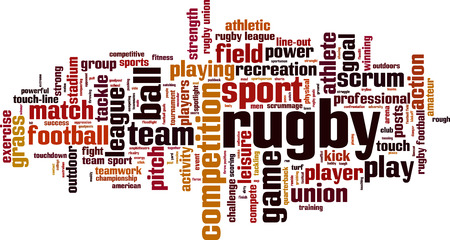 scrum: Rugby word cloud concept. Vector illustration