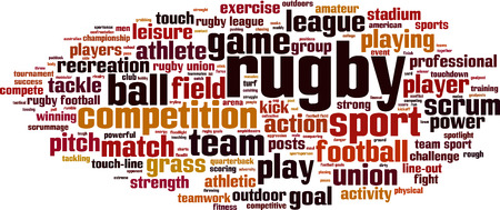 kick out: Rugby word cloud concept. Vector illustration