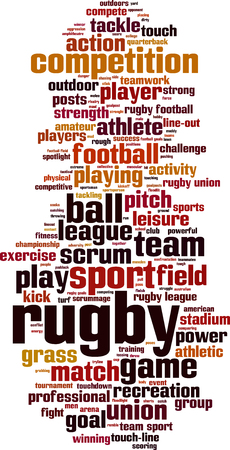 kickball: Rugby word cloud concept. Vector illustration