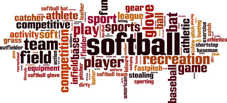 Softball word cloud concept. Vector illustration