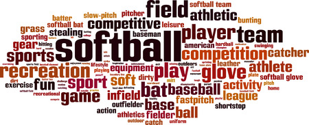 baseman: Softball word cloud concept. Vector illustration