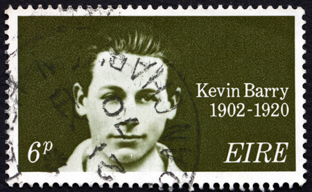 sentenced: IRELAND - CIRCA 1970: a stamp printed in Ireland shows Kevin Barry, Irish republican who was hanged during the Irish war of Independence, circa 1970 Editorial