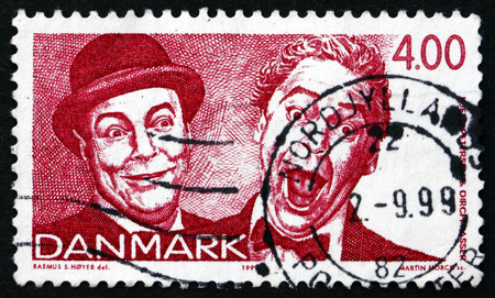passer by: DENMARK - CIRCA 1999: a stamp printed in Denmark shows Kjeld Petersen and Dirch Passer, Comedians and Actors, Danish Revue, circa 1999 Editorial
