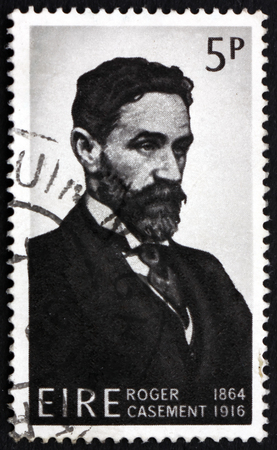 casement: IRELAND - CIRCA 1966: a stamp printed in Ireland shows Roger Casement, British Consular Agent and Irish Rebel who was Executed for Treason, circa 1966