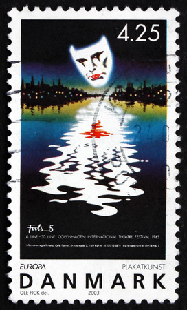 DENMARK - CIRCA 2003: a stamp printed in Denmark shows Poster for Copenhagen International Theater Festival, by Ole Fick, 1985, Poster Art, circa 2003
