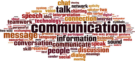 Communicatie word cloud concept. vector illustratie