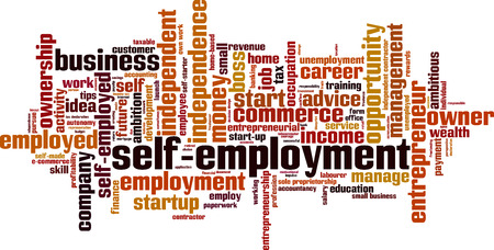 taxable income: Self-employment word cloud concept. Vector illustration