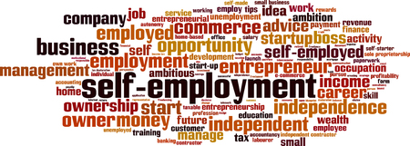 independent contractor: Self-employment word cloud concept. Vector illustration
