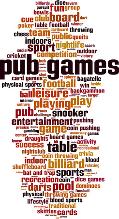Pub games word cloud concept. Vector illustration Ilustração